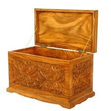 "Handmade 23"" Tropical Flowers Design Wood Coffee Table"
