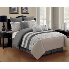 Hexagonal 8 Piece Comforter Set in Grey
