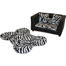 Deluxe Orthopedic Zebra Memory Foam Dog Chair Set