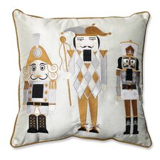 Holiday Embroidered Nutcrackers Throw Pillow