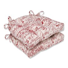 Holiday Poinsettia Reversible Chair Pad (Set of 2)