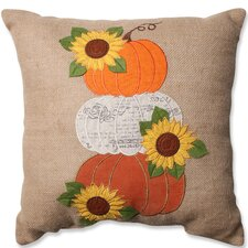 Harvest Pumpkins and Sunflowers Throw Pillow
