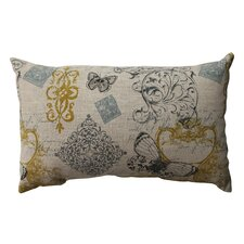 Butterfly Scroll Cotton Lumbar Pillow
