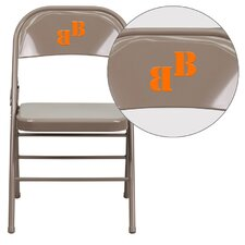 Hercules Series Personalized Triple Braced and Quad Hinged Metal Folding Chair