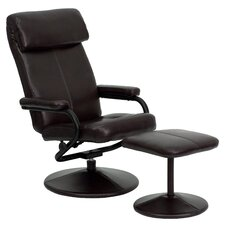 Contemporary Leather Recliner and Ottoman Set