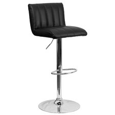 Contemporary Adjustable Height Swivel Bar Stool with Cushion