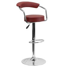Contemporary Vinyl Adjustable Height Retro Swivel Bar Stool with Cushion