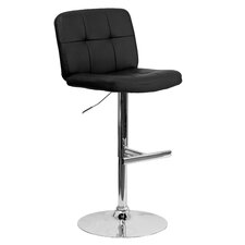 Contemporary Vinyl Adjustable Height Swivel Bar Stool with Cushion