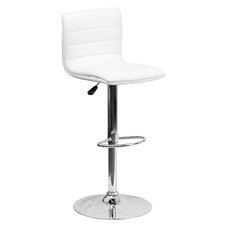 Contemporary Adjustable Height Swivel Bar Stool with Cushion & Foot Rest