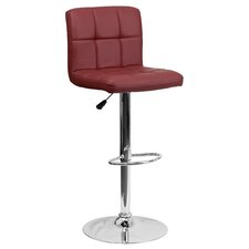 Contemporary Adjustable Height Swivel Bar Stool with Cushion & Chrome Foot Rest