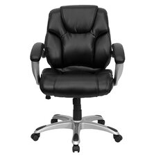 Leather Conference Chair with Titanium Base and Thick Padded Arms