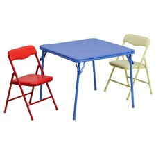 Kids 3 Piece Folding Square Table and Chair Set