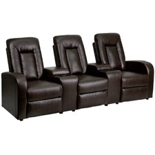 Leather 3 Seat Home Theater Recliner with Storage Console