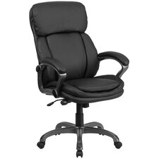 High Back Leather Executive Swivel Chair with Lumbar Support Knob