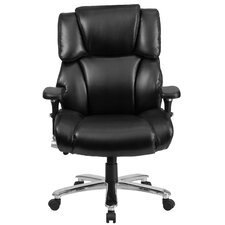 Hercules Series Leather Executive Swivel Chair with Lumbar Support Knob