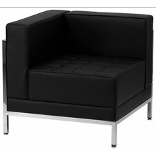 Imagination Series Contemporary Black Leather Left Corner Chair with Encasing Frame