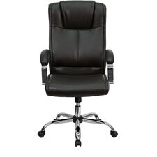 High-Back Leather Executive Chair with Chrome Base and Arms