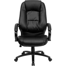 High-Back Leather Executive Chair with Dense Padding