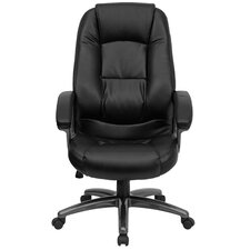 High-Back Leather Executive Chair with Metal Base