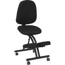 Mobile Ergonomic Kneeling Posture Chair in Black Fabric with Back