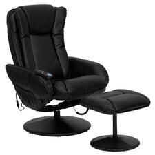 Leather Heated Reclining Massage Chair & Ottoman Set