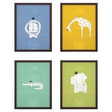 4 Piece Royal Safari Paper Print Set