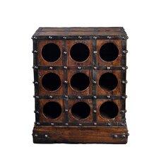 9 Bottle Studded Wooden Wine Rack