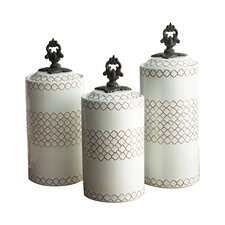 3 Piece Canister & Lid Set