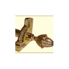 """Grand Dynasty 48"""" Fluted Tubular Stair Rod Set with Decorative Brackets Grand Pineapple Finials"""