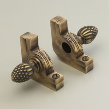 """Sovereign 28.5"""" Tubular Stair Rod Set with Decorative Brackets Pineapple Finials"""