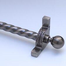 "Dynasty 72"" Roped Tubular Stair Rod Set with Decorative Brackets Ball Finials"