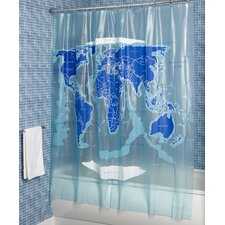 World Map Vinyl Shower Curtain
