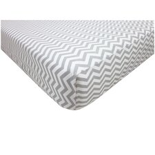 Percale 100% Cotton Zigzag Gray Fitted Crib Sheet
