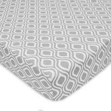 Percale Gray Ogee Fitted Crib Sheet