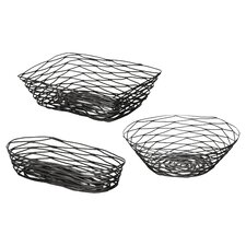 3 Piece Artisan Coated Metal Bread Basket Set