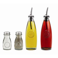 Authentic 4 Piece Recycled Glass Condiment Set