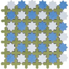 Aquarelle Random Sized Ceramic Mosaic Tile in Star Blue