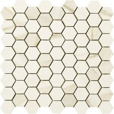 """Timeless Collection 1.5"""" x 1.75"""" Porcelain Mosaic Tile in Calacatta Pearl"""