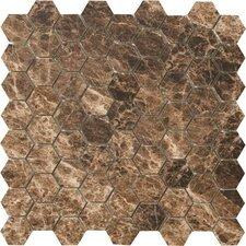 "Timeless Collection 1.5"" x 1.75"" Porcelain Mosaic Tile in Emperador Mocha"