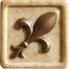 """Romancing the Stone 2"""" x 2"""" Compressed Stone Fleur de Lis Insert with Bronze Inlay in Ivory (Set of 2)"""