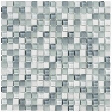 Crystal Stone II Glass Mosaic Tile in Pearl (Set of 6)