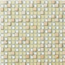Crystal Glass and Stone Mosaic Tile in Ivory