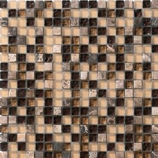 Crystal Glass and Stone Mosaic Tile in Coffee