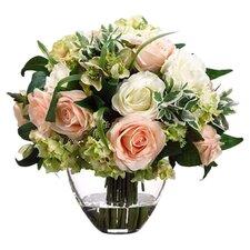 Rose / Hydrangea in Glass Vase