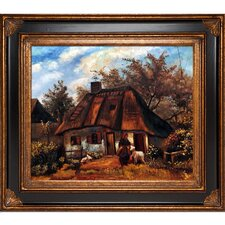 Cottage and Woman with Goat by Vincent Van Gogh Original Painting on Canvas