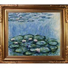 Water Lilies by Monet Framed Hand Painted Oil on Canvas in Blue and Gray