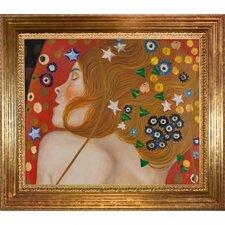 Sea Serpents IV by Gustav Klimt Framed Original Painting
