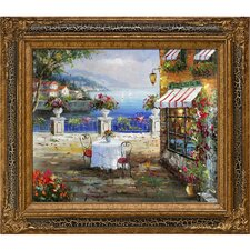 Cafe Italy Framed Hand Painted Oil on Canvas