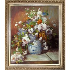Grande Vase Di Fiori by Renoir Framed Hand Painted Oil on Canvas