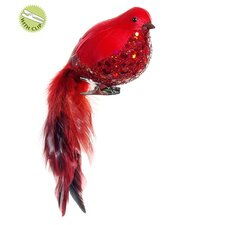 In the Birches and Glitter Cardinal Bird Clip On Christmas Ornament